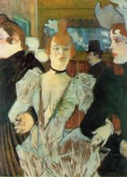 Toulouse Lautrec painting - La Goulue Arriving at the Moulin Rouge